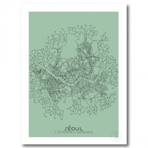 Seoul City Map Poster on