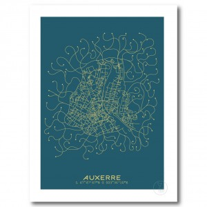 Auxerre City Map Poster